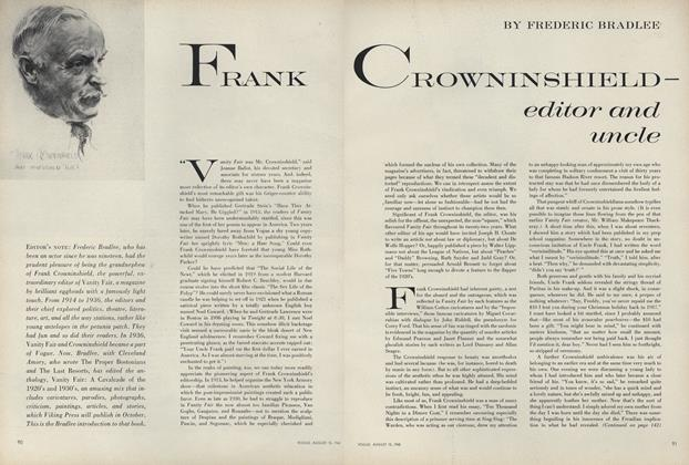 Article Preview: Frank Crownshield–Editor and Uncle, August 15 1960 | Vogue