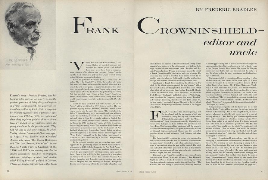 Frank Crownshield–Editor and Uncle