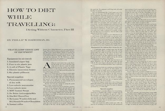Article Preview: How to Diet While Travelling: Dieting Without Character, Part III: Travellers' Check List of Equipment, April 1 1961 | Vogue