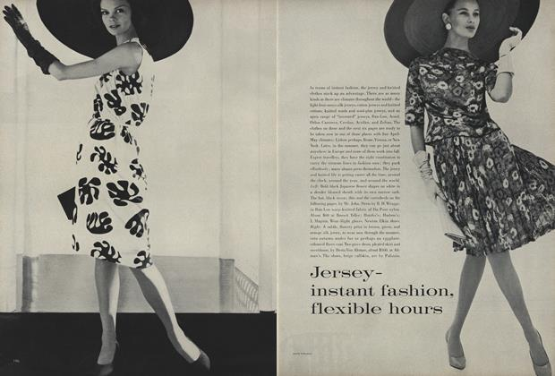 Article Preview: Jersey—Instant Fashion, Flexible Hours, April 1 1961 | Vogue