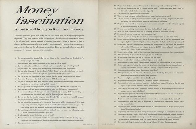 Article Preview: Money Fascination: A Test to Tell How You Feel About Money, September 1 1961 | Vogue