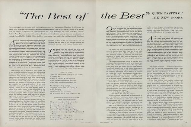 "Article Preview: ""The Best of the Best"" Quick Tastes of the New Books, September 1 1961 