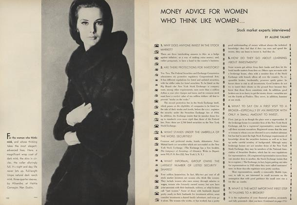 Article Preview: Money Advice for Women Who Think Like Women, November 15 1961 | Vogue