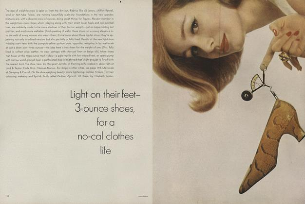 Article Preview: Light on Their Feet—3-Ounce Shoes, for a No-Cal Clothes Life/Shoe Details, February 15 1962 | Vogue