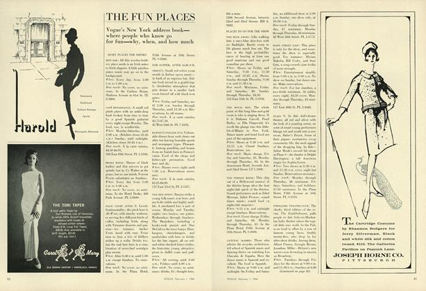 Article Preview: The Fun Places in New York, February 1 1964 | Vogue