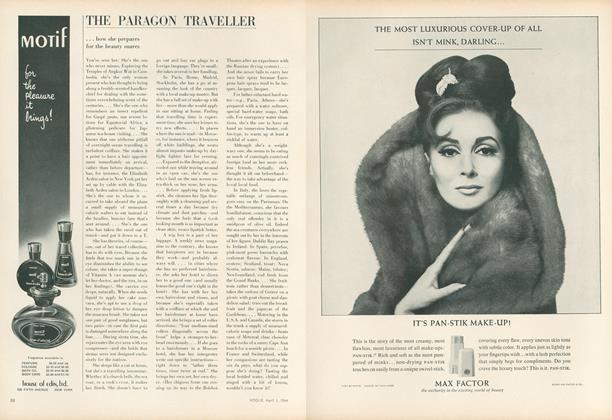 Article Preview: The Paragon Traveller: How She Prepares for the Beauty Snares, April 1 1964 | Vogue