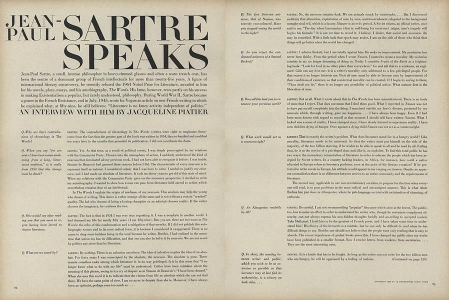 Jean-Paul Sartre Speaks