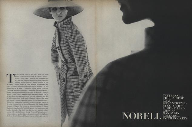 Norell. Tattersall: The Raciest Coat Romanticized by Colour- Light-filled Checks Mandarin Collars...Patch Pockets
