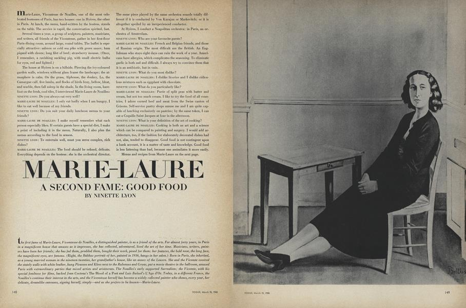 Marie-Laure. A Second Fame: Good Food