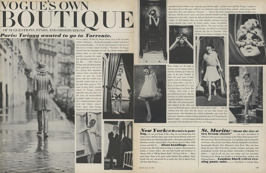 Paris: Twiggy Wanted to Go to Torrente/San Fransisco: A Boutique City...