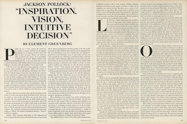 "Jackson Pollack: ""Inspiration, Vision, Intuitive Decision"""