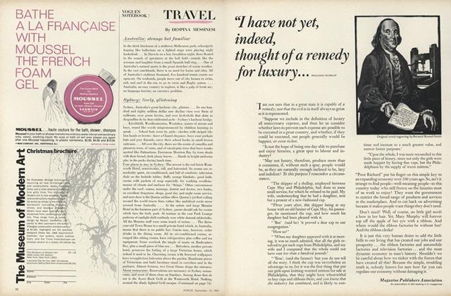 Article Preview: Travel: Australia—Strange but Familiar, September 15 1967 | Vogue