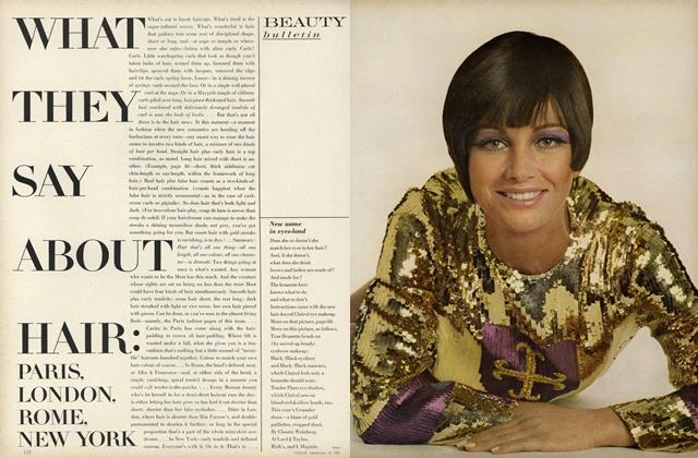 Article Preview: What they Say about Hair: Paris, London, Rome, New York/Marisa Mell, September 15 1967 | Vogue