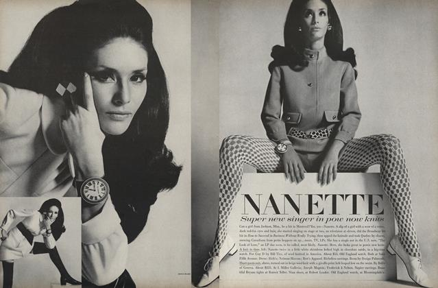 Article Preview: Nanette: Super New Singer in Pow Now Knits, October 15 1967 | Vogue