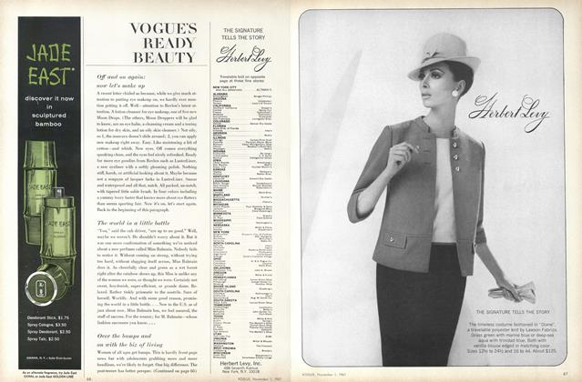 Article Preview: Off and on Again: Now Let's Make Up/The World in a Little Bottle..., November 1 1967 | Vogue