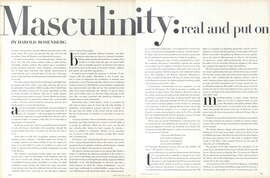 Masculinity: real and put on