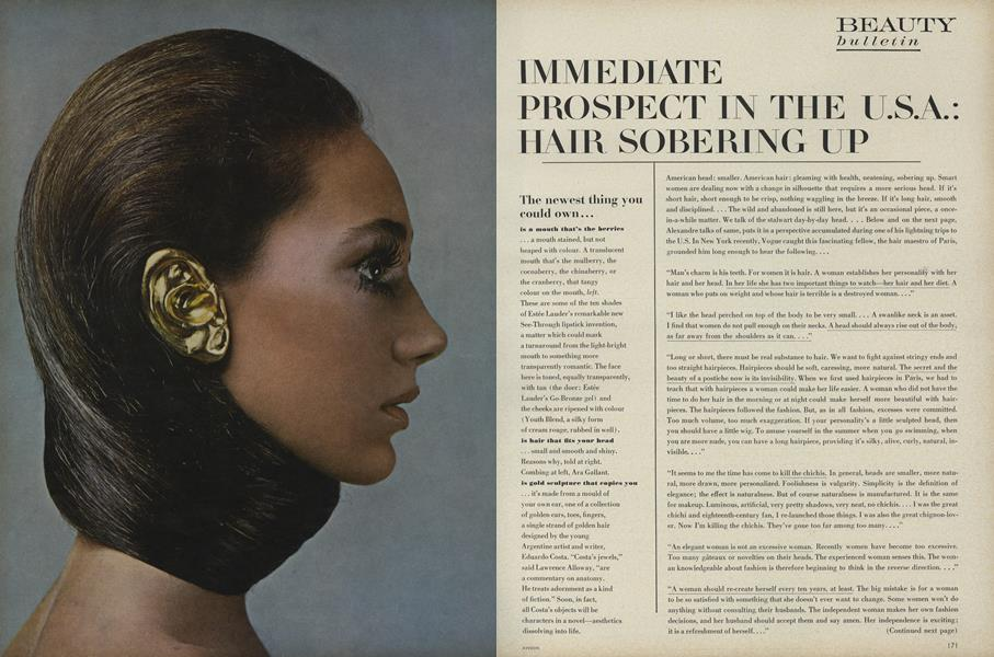 Beauty Bulletin: Immediate Prospect In the U.S.A.: Hair Sobering Up