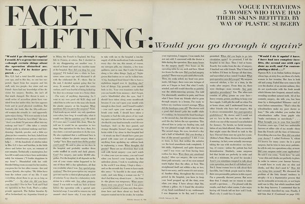 Article Preview: Face-Lifting: Would You Go Through it Again?, February 15 1968 | Vogue