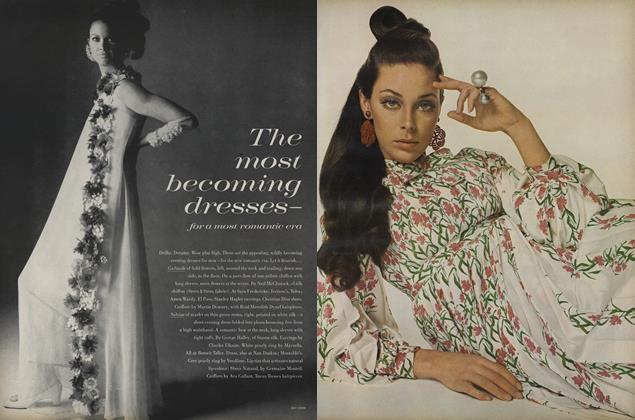 Article Preview: The Most Becoming Dresses—for a Most Romantic Era, March 1 1968 | Vogue