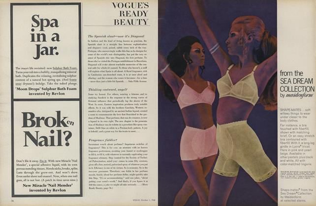 Article Preview: The Spanish Slant—Now It's Diagonal /Thinking Eastward, Angel?..., October 1 1968 | Vogue