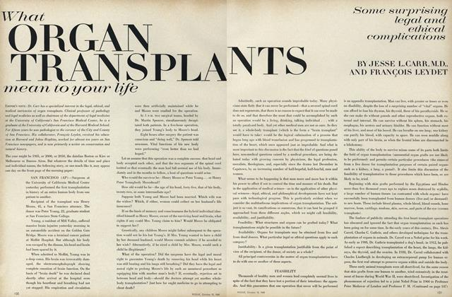 Article Preview: What Organ Transplants mean to your life: Some surprising legal and ethical complications, October 15 1968 | Vogue