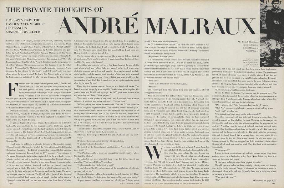 The Private Thoughts of Andre Malraux