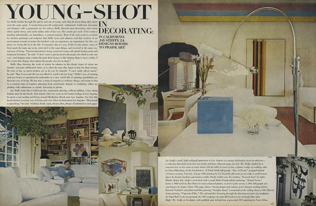 Article Preview: Young-Shot in Decorating: In California Jay Steffy, 24 Designs Rooms to Praise Art, August 1 1969 | Vogue