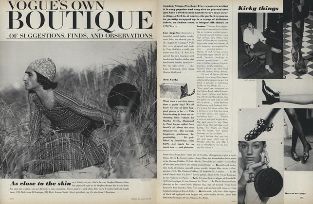 Article Preview: Vogue's Own Boutique of Suggestions, Finds, and Observations: As Close to the Skin, November 15 1969 | Vogue