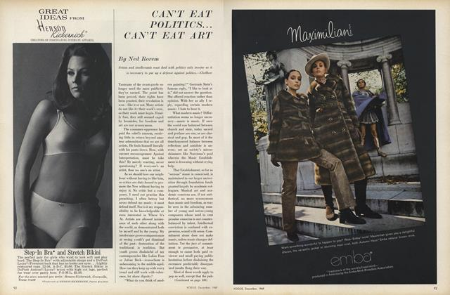 Article Preview: Can't Eat Politics...Can't Eat Art, December 1969 | Vogue
