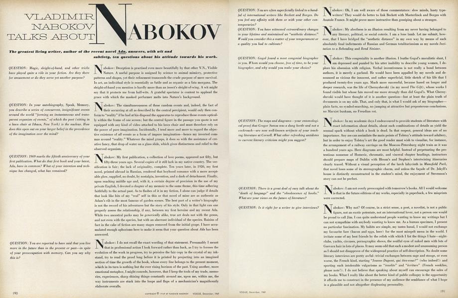 Vladimir Nabokov Talks About Nabokov