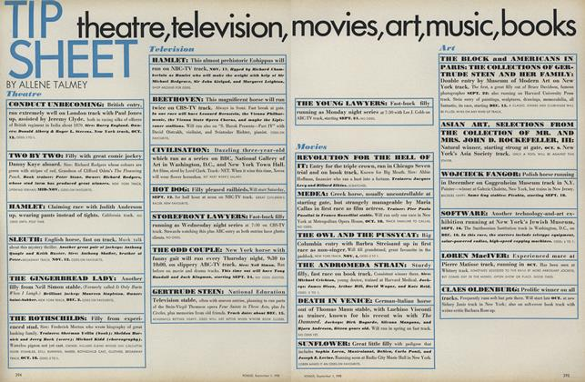 Tip Sheet: Theatre, Television, Movies, Art, Music, Books