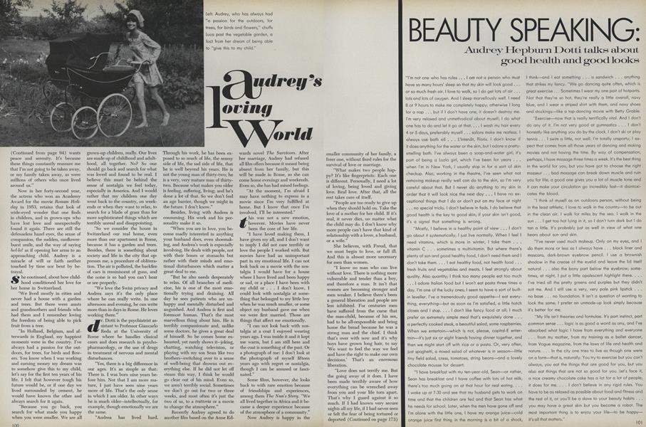 Beauty Speaking: Audrey Hepburn Dotti Talks About Good Health and Good Looks