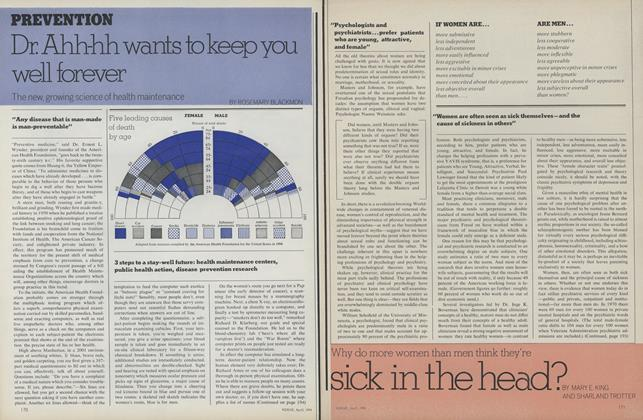 Article Preview: Why Do More Women Than Men Think They're Sick in the Head?, April 1974 | Vogue