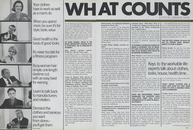 Article Preview: What Counts: Seven Experts Talk about Clothes, Looks, House, Health, Time, June 1979 | Vogue