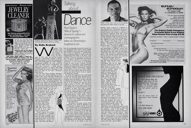 "Dance. Paul Taylor's ""Rite of Spring""-America's native-son choreographer takes on Stravinsky's toughest score"
