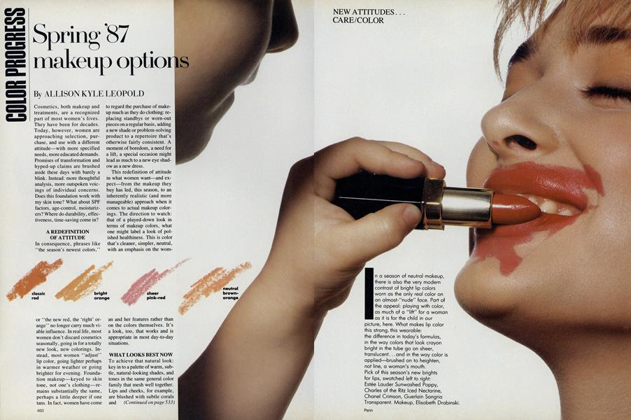 New Attitudes, Care-Color: Color Progress—Spring '87 Makeup Options